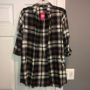 Plaid Tunic Shirt with Belt